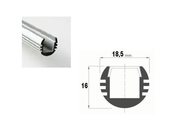 LED Profiel 02 | Rondo | 18,5 x16mm | Opaal, PC, UV Bestendig | 1M