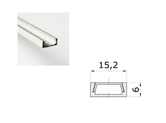 LED Profiel 03 | Small | 15,2 x 6mm | Helder, PC, UV Bestendig