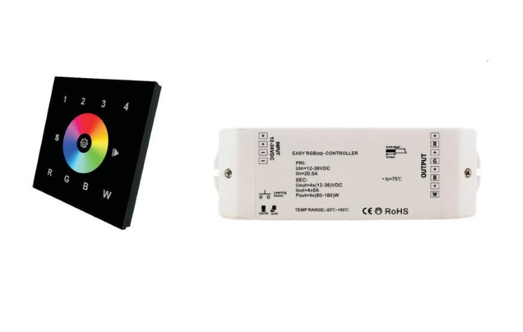 Wifi | RGBW LED Controller | 4 x 60 / 120W | 12-24V | Wall Set