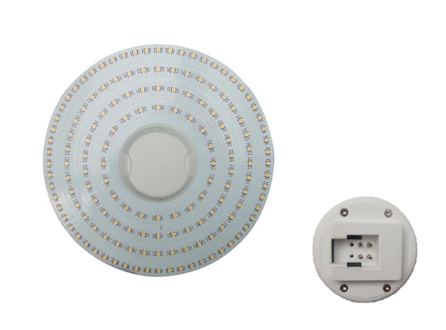Set LEDplaat + Voeding | 220V | 10W | 144 LEDs | Diamemter 20cm | Warm Wit