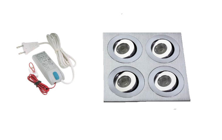LED inbouwspot | 4 LED spots | 180Lm | Doe Het Zelf LED Kit | Warm Wit | 204B