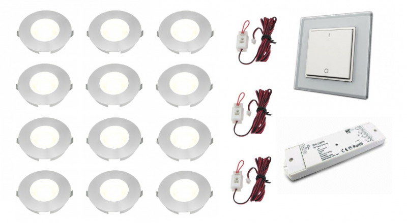 Lumoluce | Slimline | LED inbouwspot | 12 LED spots | 110Lm | Doe Het Zelf LED Kit | Warm