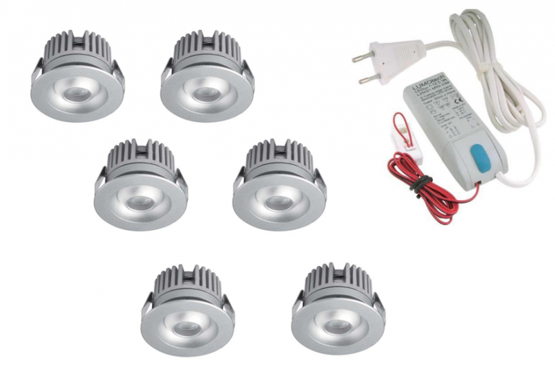 LED inbouwspot | 6 LED spots | 80Lm | Doe Het Zelf LED Kit | Warm Wit | 2320