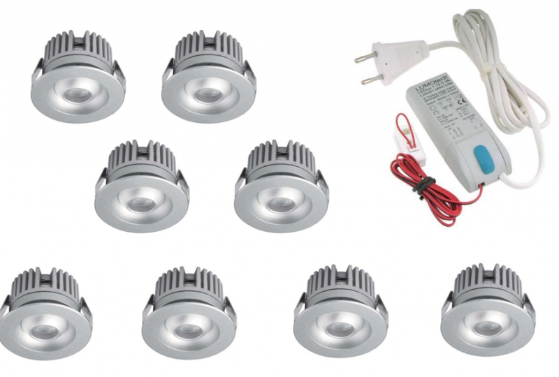 LED inbouwspot | 8 LED spots | 80Lm | Doe Het Zelf LED Kit | Warm Wit | 2320