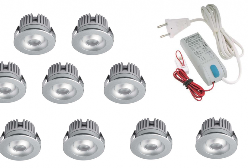 LED inbouwspot | 10 LED spots | 80Lm | Doe Het Zelf LED Kit | Warm Wit | 2320