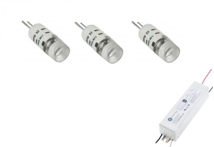 LED steeklampje | 12V | Kit 3 x 1,5W | VV 10-15W | Warm Wit | G4 | 100Lm
