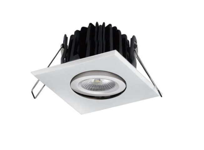 LED inbouwspot | 1 LEDs | Vierkant | 8W | Warm Wit | RVS | IP54