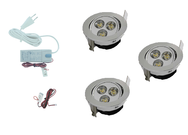 LED inbouwspot | 3 LED spots | 190Lm | Doe Het Zelf LED Kit | Warm Wit | 302A