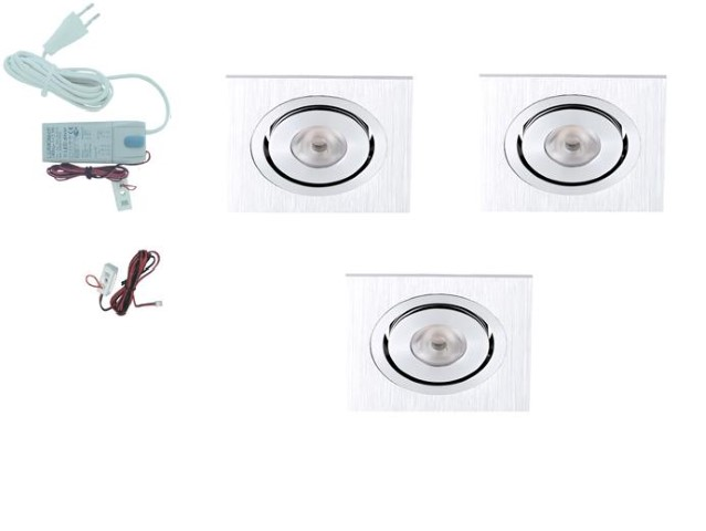 Lumoluce | LED inbouwspot | 3 LED spots | 210Lm | Doe Het Zelf LED Kit | Warm Wit | Vierk