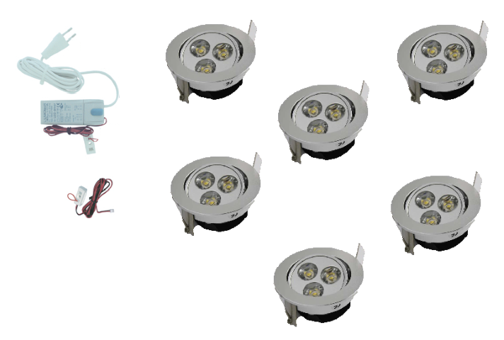 LED inbouwspot | 6 LED spots | 190Lm | Doe Het Zelf LED Kit | Warm Wit | 301A
