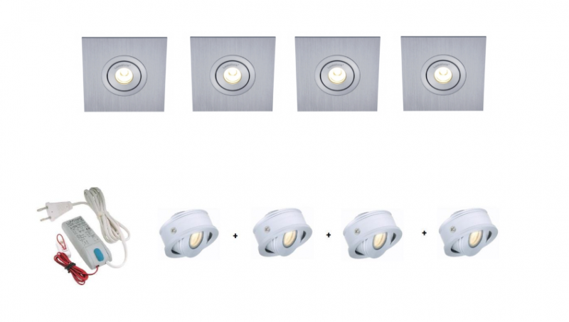 Lumoluce | Luzern + S80 Vierkant | LED inbouwspot | 4 LED spots | Doe Zelf LED Kit | Dagli