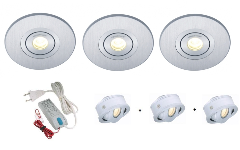 Lumoluce | Luzern + R80| LED inbouwspot | 3 LED spots | Doe Zelf LED Kit | Warm Wit