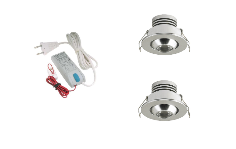 LED inbouwspot | 2 LED spots | 180Lm | Doe Het Zelf LED Kit | Warm Wit | LW101C