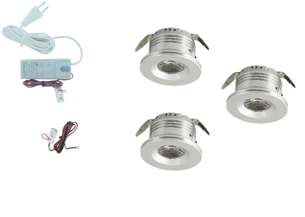 LED inbouwspot | 3 LED spots | 180Lm | Doe Het Zelf LED Kit | Warm Wit | 8413