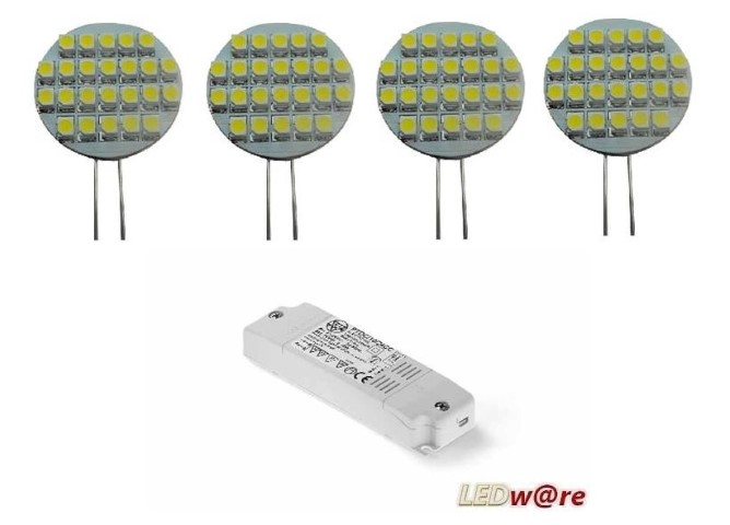 LED steeklampjeset | 12V | 2,1W | VV 10-15W | Warm Wit | 4 x G4 + Voeding
