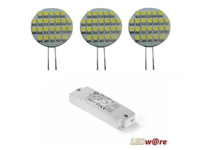 LED steeklampjeset | 12V | 2,1W | VV 10-15W | Warm Wit | 3 x G4 + Voeding