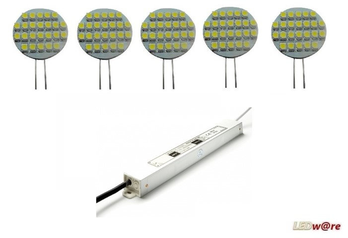 LED steeklampjeset | 12V | 2,1W | VV 10-15W | Warm Wit | 5 x G4 + Voeding