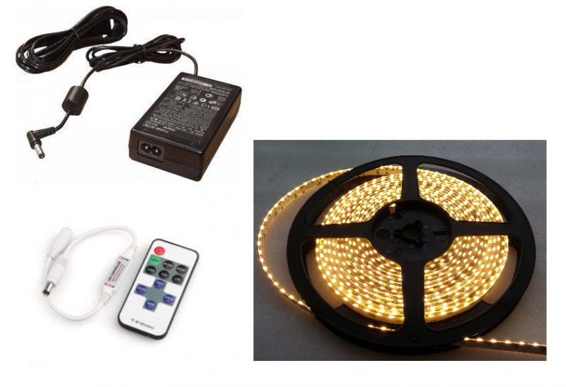 LEDstripset | LEDstrip 2M 240 LEDs | Side View | Warm Wit + Voeding + Dimmer