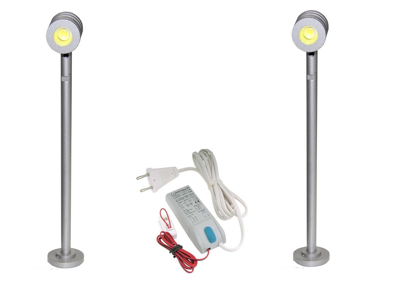 LED Vitrine Spot | Kit | Type Show | 2 x 1,5W | Warm Wit | 180Lm | LWVIJS013W12VWW