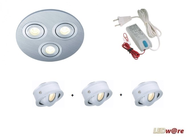 Lumoluce | LED inbouwplaat set | 3 LEDs | Rond | Warm Wit