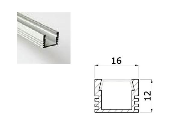 LED Profiel 01 | Standard | 16x12mm | Opaal, PC, UV Bestendig | 1M