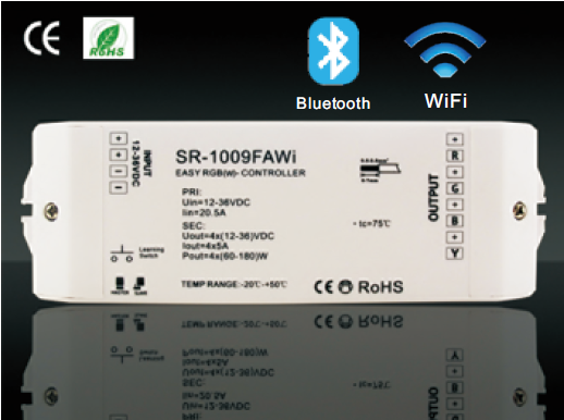 Wifi | RGBW LED Controller | 3 x 60 / 120W 1 x 700mA | 12-24V | met software | RF