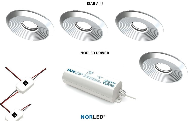 NORLED | LED inbouwspotset | 6 spots | Rond | 3W | Warm Wit | ISAR MAT ALU