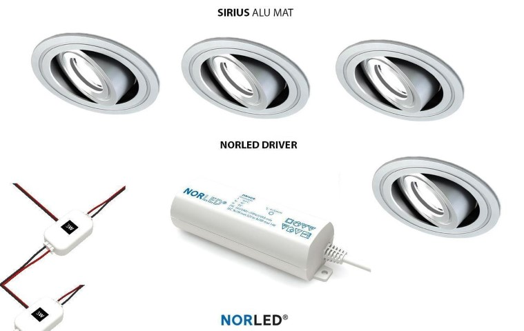 NORLED | LED inbouwspotset | 4 spots | Rond | 3W | Warm Wit | SIRIOS MAT ALU