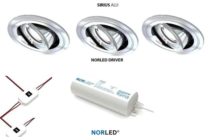 NORLED | LED inbouwspotset | 3 spots | Rond | 3W | Warm Wit | SIRIOS MAT ALU