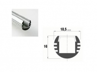 LED Profiel 02 | Rondo | 18,5 x16mm | Opaal, PC, UV Bestendig |