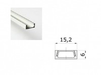 LED Profiel 03 | Small | 15,2 x 6mm | Opaal, PC, UV Bestendig |