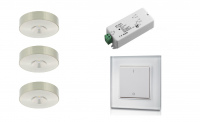 Klemko | Lumiko | LED op / inbouwspot | 3 LED spots | Doe Zelf LED Kit | Warm Wit | RF Gla