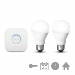 Philips Hue White Starterset E27 A60 (2 lampen met Bridge 2.0)